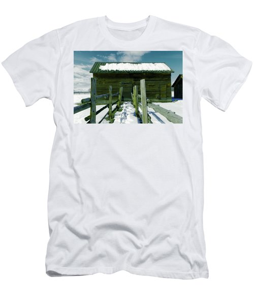 Men's T-Shirt (Slim Fit) featuring the photograph Walkway To An Old Barn by Jeff Swan