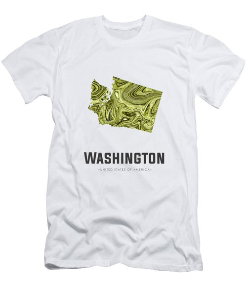 Washington Map Art Abstract In Olive Men's T-Shirt (Athletic Fit)