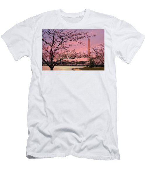 Men's T-Shirt (Slim Fit) featuring the photograph Washington Monument Cherry Blossom Festival by Shelley Neff