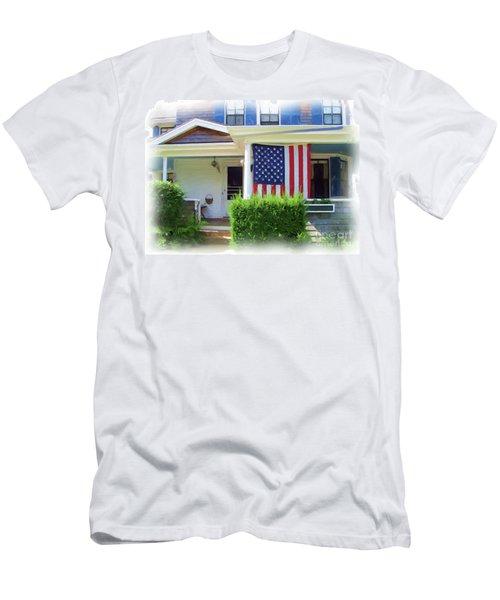Watch Hill Ri Cottage Men's T-Shirt (Slim Fit) by Joan Hartenstein