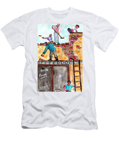 Watching Construction Workers Men's T-Shirt (Athletic Fit)