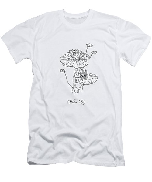 Water Lily Flower Botanical Drawing  Men's T-Shirt (Athletic Fit)