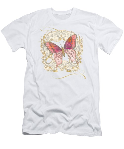 Watercolor Butterfly With Vintage Swirl Scroll Flourishes Men's T-Shirt (Slim Fit) by Audrey Jeanne Roberts