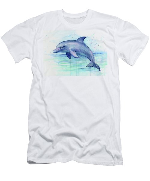 Watercolor Dolphin Painting - Facing Right Men's T-Shirt (Athletic Fit)