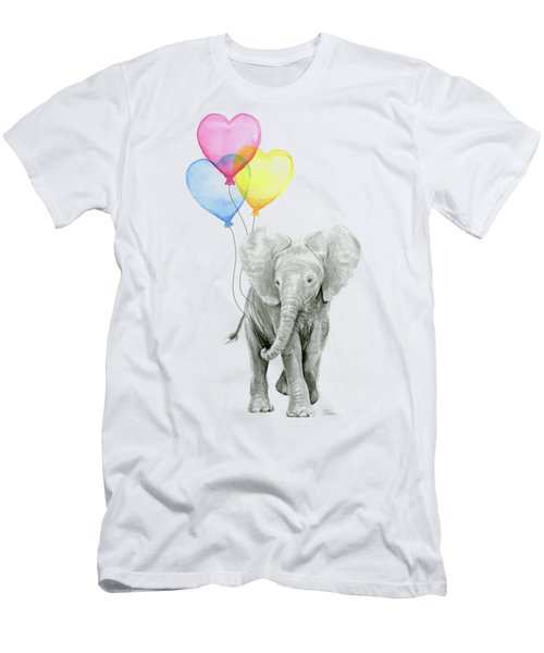 Watercolor Elephant With Heart Shaped Balloons Men's T-Shirt (Athletic Fit)