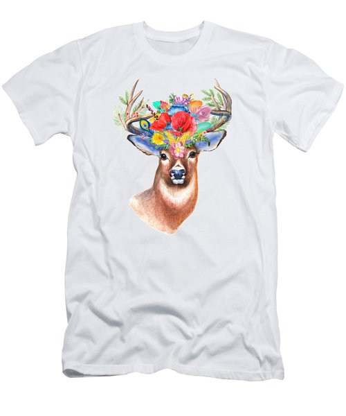 Watercolor Fairytale Stag With Crown Of Flowers Men's T-Shirt (Slim Fit) by Modern Art