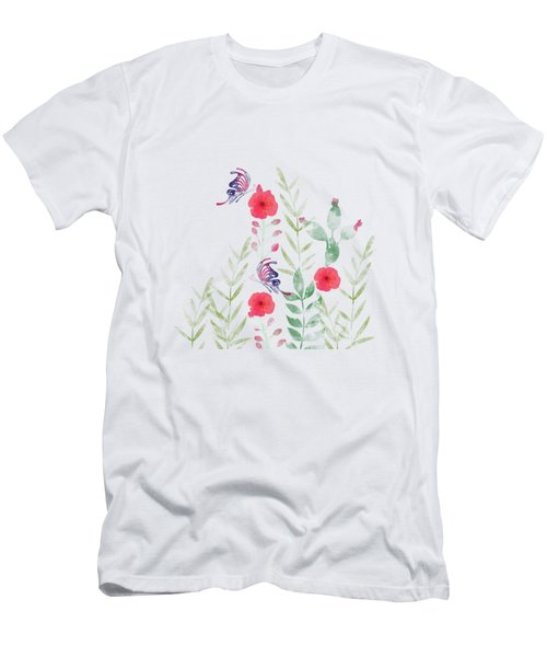 Watercolor Floral And Butterfly Men's T-Shirt (Athletic Fit)