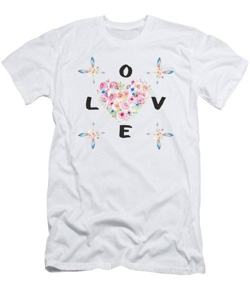 Men's T-Shirt (Slim Fit) featuring the painting Watercolor Flowers Arrows Love Typography by Georgeta Blanaru