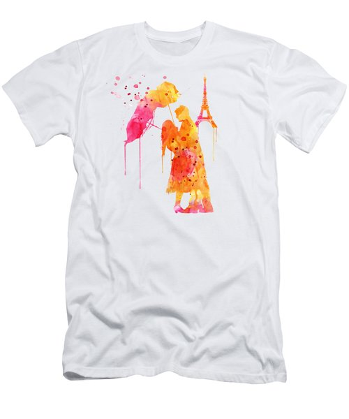 Watercolor Love Couple In Paris Men's T-Shirt (Slim Fit) by Marian Voicu