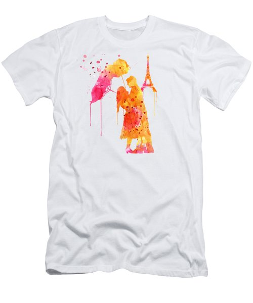 Watercolor Love Couple In Paris Men's T-Shirt (Athletic Fit)