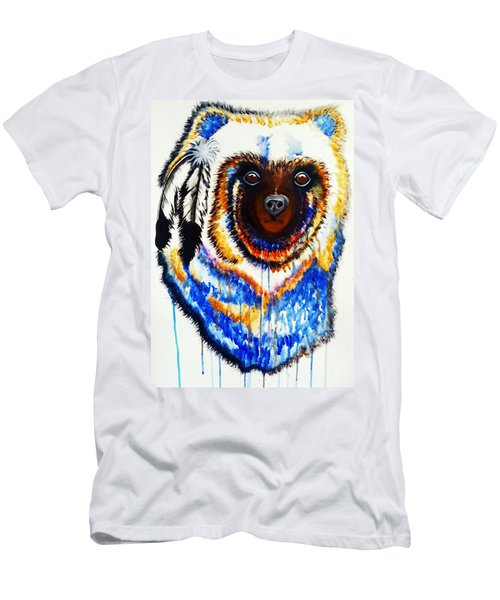 Watercolor Painting Of Spirit Of The Bear By Ayasha Loya Men's T-Shirt (Slim Fit) by Ayasha Loya
