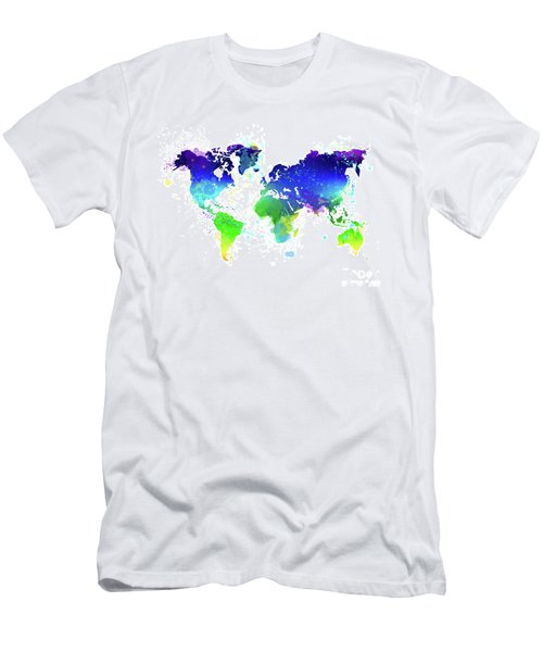 Watercolor World Map Men's T-Shirt (Athletic Fit)