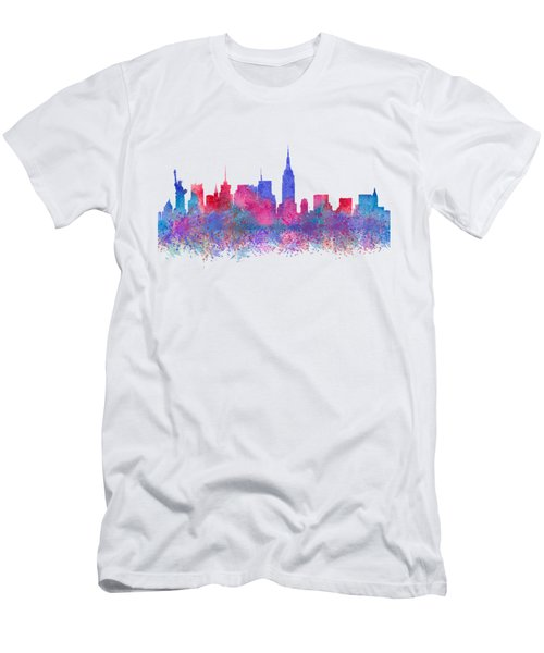 Watercolour Splashes New York City Skylines Men's T-Shirt (Athletic Fit)