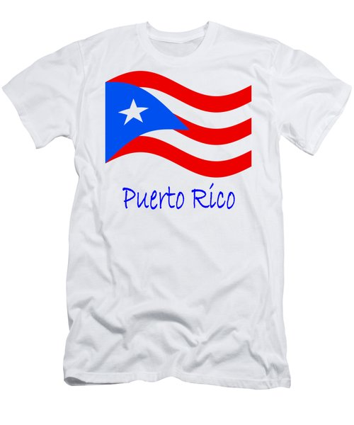 Waving Puerto Rico Flag And Name Men's T-Shirt (Athletic Fit)
