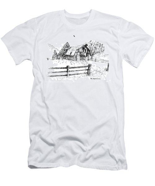 Weeping Willow And Barn One Men's T-Shirt (Athletic Fit)