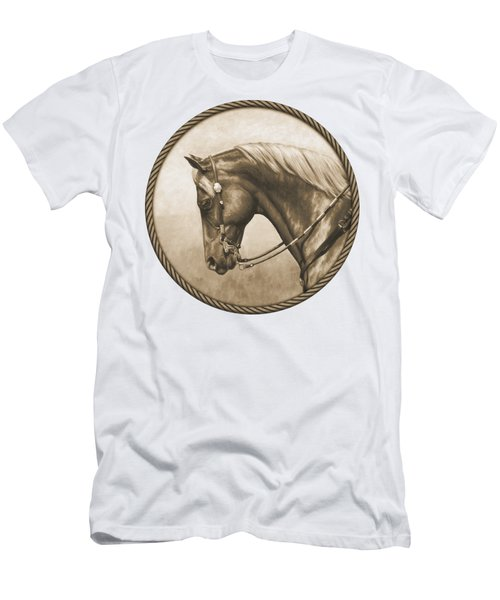 Western Pleasure Quarter Horse In Sepia Men's T-Shirt (Athletic Fit)