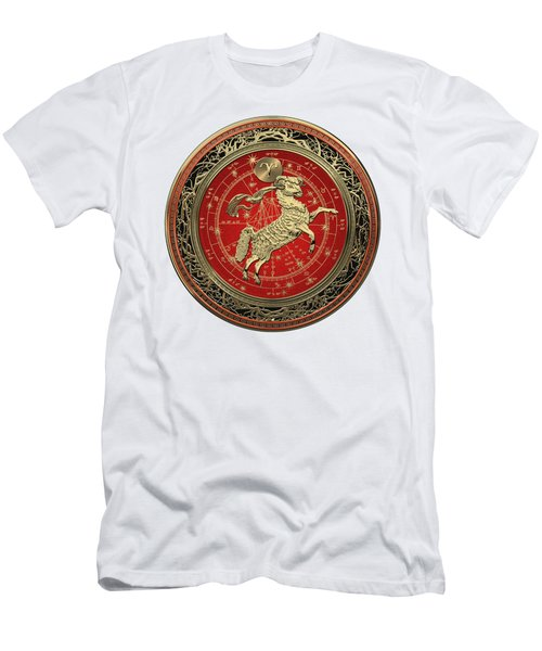 Western Zodiac - Golden Aries -the Ram On White Leather Men's T-Shirt (Athletic Fit)