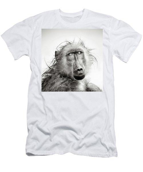 Wet Baboon Portrait Men's T-Shirt (Slim Fit) by Johan Swanepoel