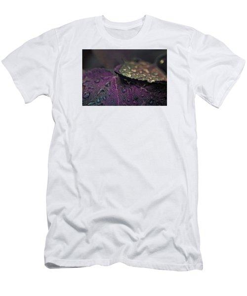 Wet Purple Leaves Men's T-Shirt (Slim Fit) by Bonnie Bruno