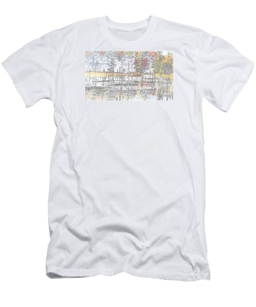 Men's T-Shirt (Slim Fit) featuring the photograph Wetland Reflections Abstract by Mike Breau