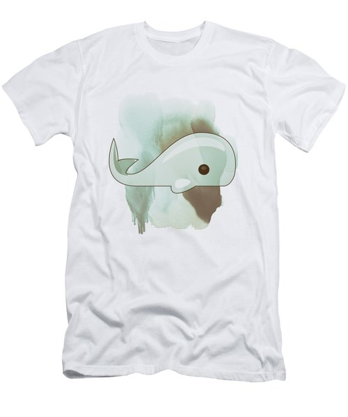 Whale Art - Bright Ocean Life Pastel Color Artwork Men's T-Shirt (Slim Fit) by Wall Art Prints