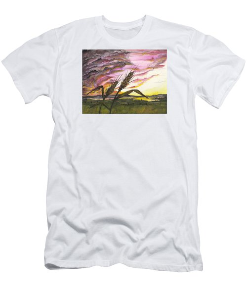 Men's T-Shirt (Athletic Fit) featuring the painting Wheat Field by Darren Cannell