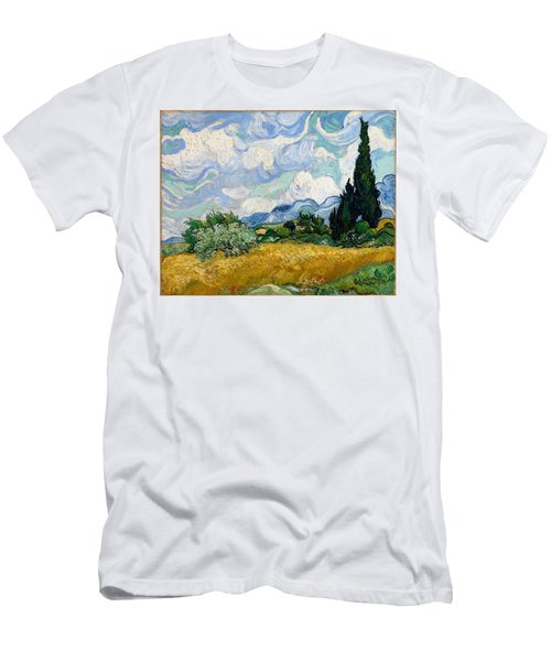Men's T-Shirt (Athletic Fit) featuring the painting Wheatfield With Cypresses by Van Gogh