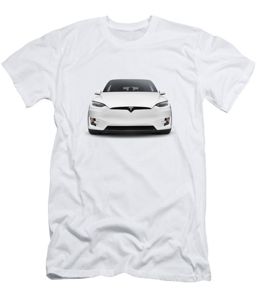 White 2017 Tesla Model X Luxury Suv Electric Car Front Isolated Art Photo Print Men's T-Shirt (Athletic Fit)