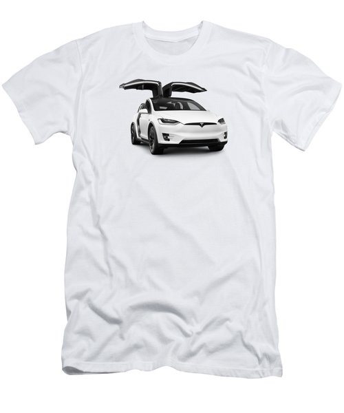 White 2018 Tesla Model X Luxury Suv Electric Car With Open Falcon Wing Doors  Men's T-Shirt (Athletic Fit)