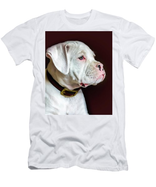 White Boxer Portrait Men's T-Shirt (Slim Fit) by Dawn Romine