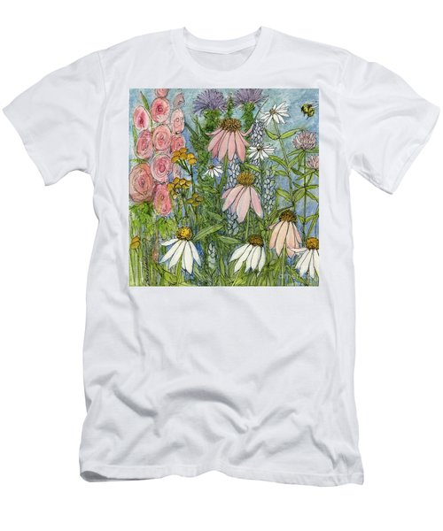 White Coneflowers In Garden Men's T-Shirt (Athletic Fit)