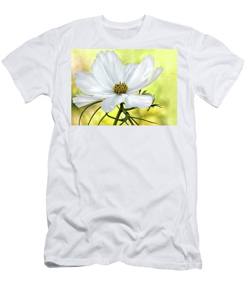 White Cosmos Floral Men's T-Shirt (Athletic Fit)