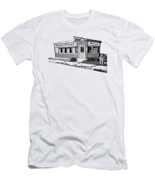 Men's T-Shirt (Slim Fit) featuring the drawing White Crystal Diner Nj Sketch by Edward Fielding