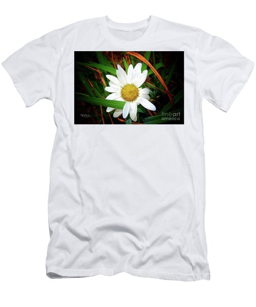 White Daisy Men's T-Shirt (Slim Fit) by Inspirational Photo Creations Audrey Woods