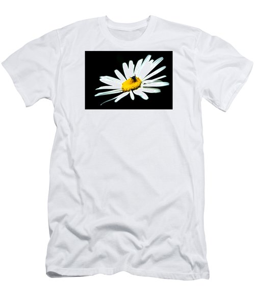 Men's T-Shirt (Slim Fit) featuring the photograph White Daisy Flower And A Fly by Alexander Senin