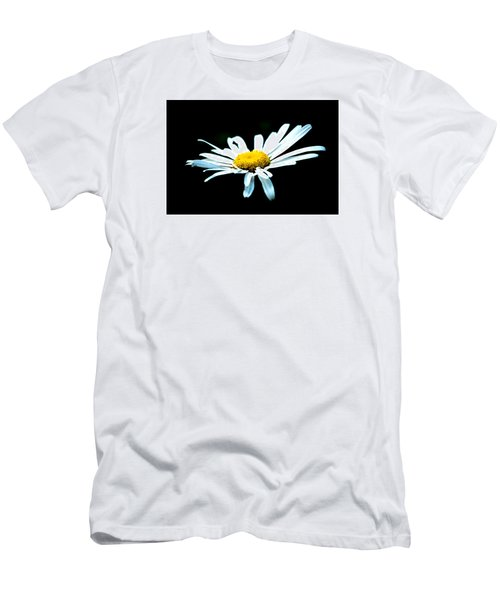 Men's T-Shirt (Slim Fit) featuring the photograph White Daisy Flower Black Background by Alexander Senin