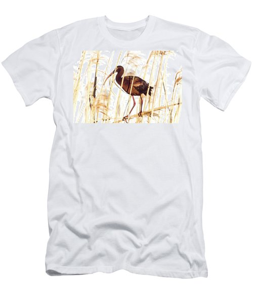 Men's T-Shirt (Slim Fit) featuring the photograph White Faced Ibis In Reeds by Robert Frederick