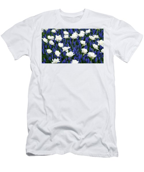 White On Blue Men's T-Shirt (Athletic Fit)