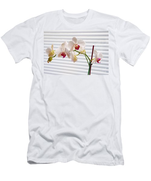 White Orchids On White Men's T-Shirt (Athletic Fit)
