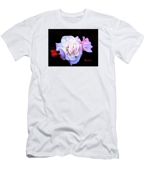 Men's T-Shirt (Slim Fit) featuring the photograph White - Pink Roses by Sadie Reneau