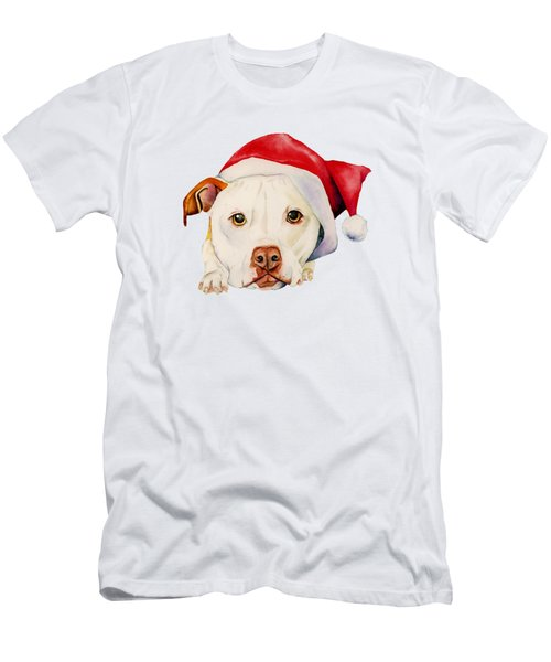 White Pit Bull Terrier Dog With Santa Hat Portrait Men's T-Shirt (Athletic Fit)
