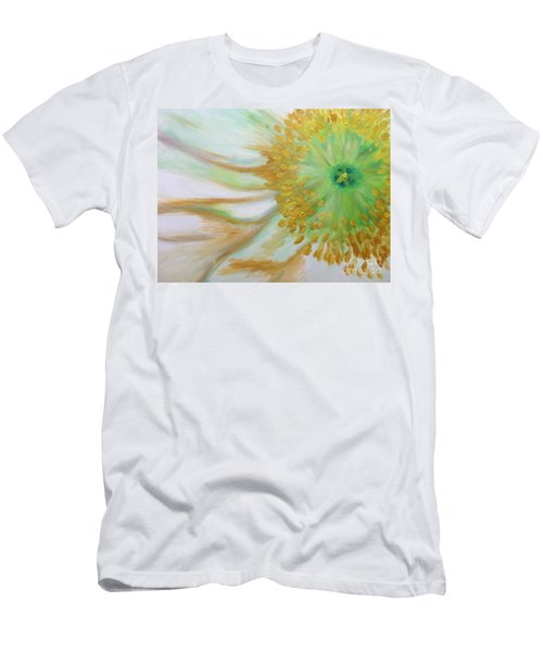 Men's T-Shirt (Slim Fit) featuring the painting White Poppy by Sheron Petrie