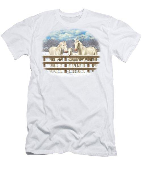 White Quarter Horses In Snow Men's T-Shirt (Athletic Fit)