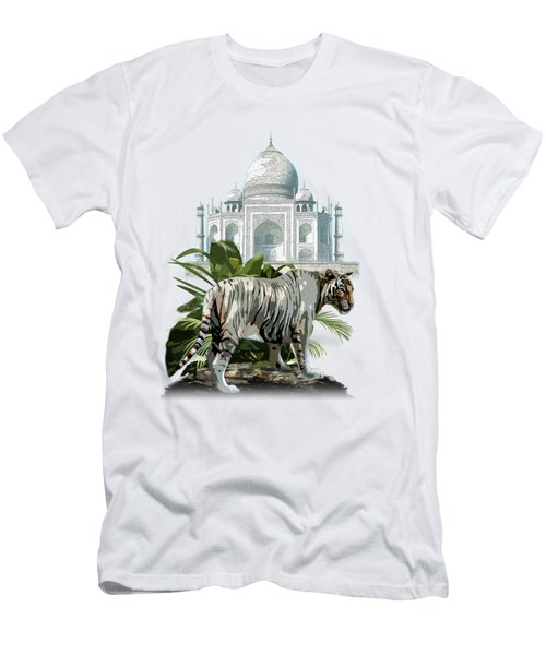 White Tiger And The Taj Mahal Image Of Beauty Men's T-Shirt (Athletic Fit)