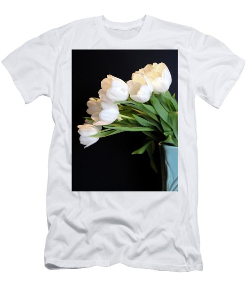 White Tulips In Blue Vase Men's T-Shirt (Slim Fit) by Julia Wilcox