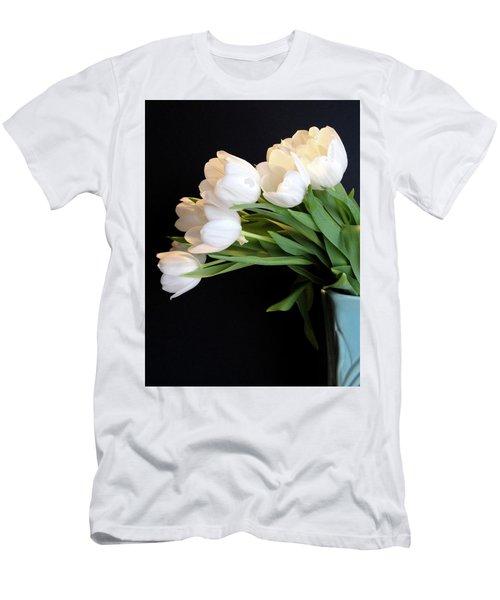 White Tulips In Blue Vase Men's T-Shirt (Athletic Fit)
