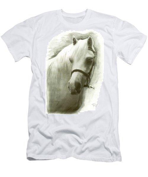 Men's T-Shirt (Athletic Fit) featuring the drawing White Welsh Pony by Ryn Shell
