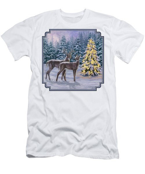 Whitetail Christmas Men's T-Shirt (Slim Fit) by Crista Forest