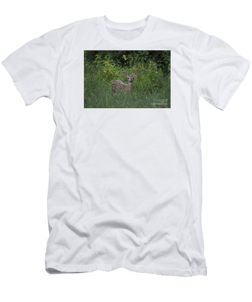 Men's T-Shirt (Slim Fit) featuring the photograph Whitetail Fawn 20120711_37a by Tina Hopkins