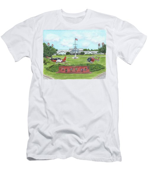 Men's T-Shirt (Athletic Fit) featuring the painting Whiting Field Welcome Sign by Betsy Hackett